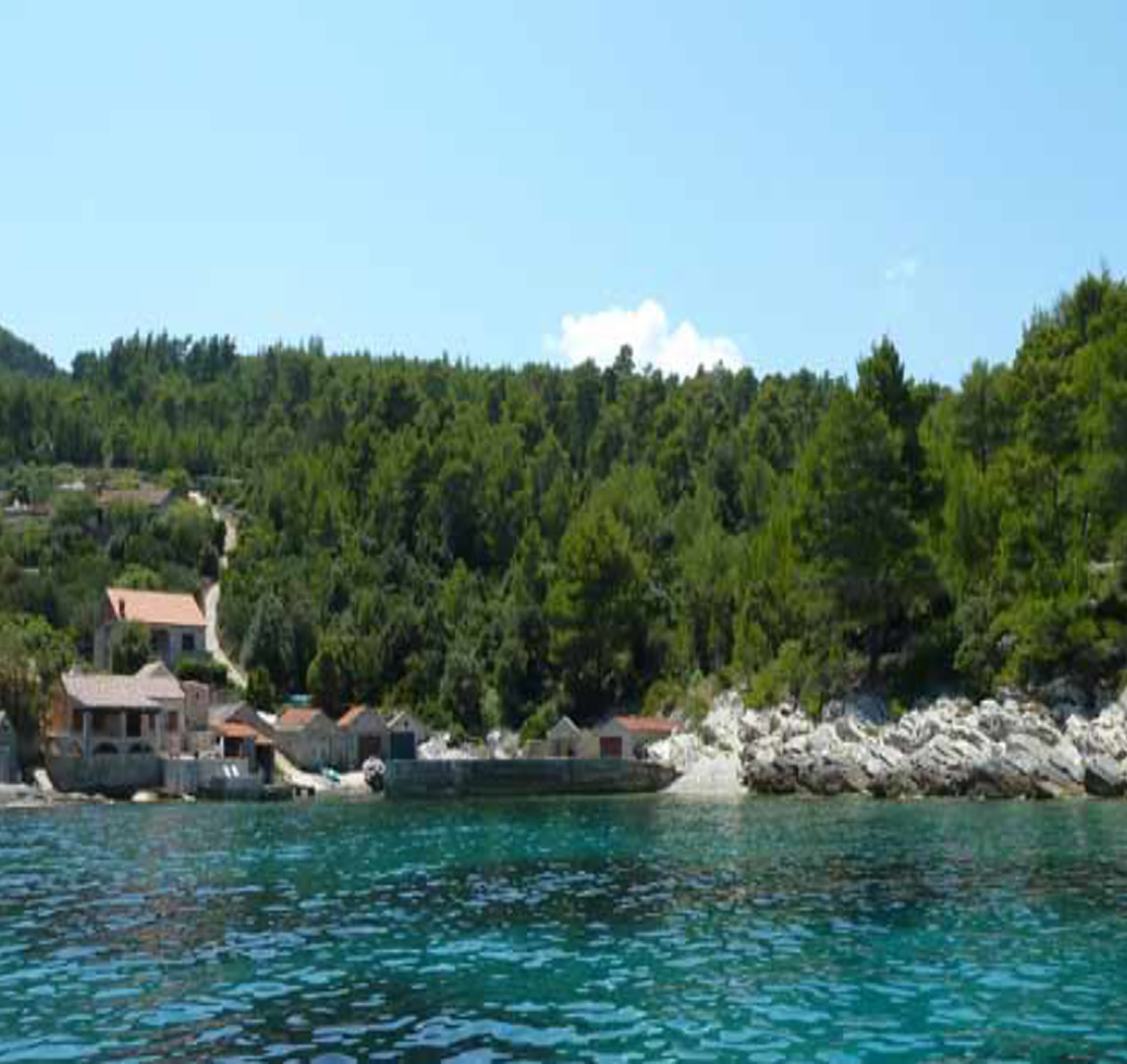 Babina, Island Korcula 22.000 m2 with old stone village with two boat houses